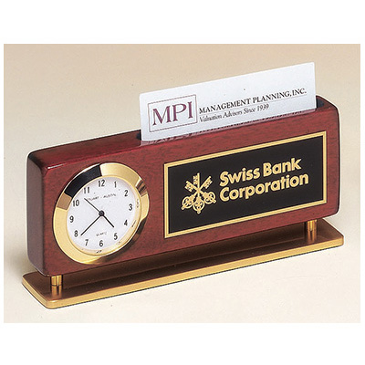 Combination Clock and Business Card Holder