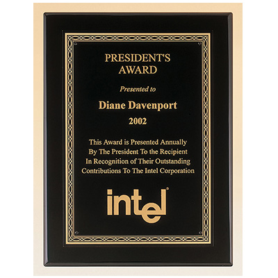 Black Finish Plaque with Florentine Design Border