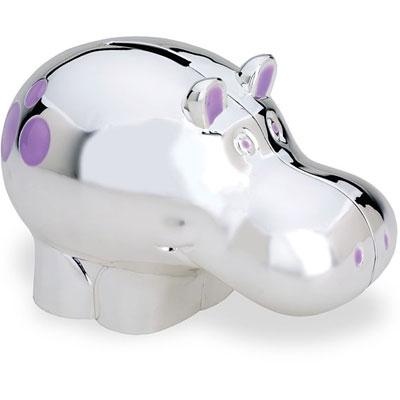 Silver Plated Hippo Bank