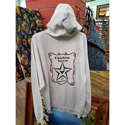"""Chickentown/Hwy 101"" Hoodie Sweatshirt back"